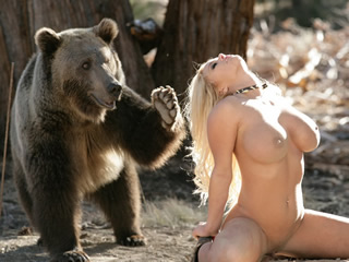 Teens tight ass licked wet by eager bear
